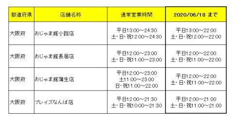 営業時間変更のお知らせ【6/15更新】